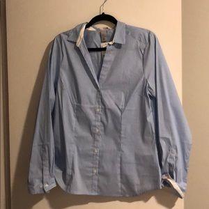 Button up blue pin stripe shirt